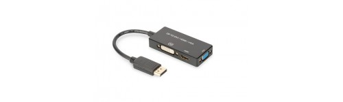 DisplayPort 3-in-1 adapter naar VGA + DVI + HDMI