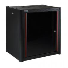 Mirsan 19 inch wandpatchkast 12U extra diep met uitneembare zijpanelen zwart