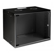 Mirsan 19 inch 9U wandpatchkast, ongemonteerd, 400 mm diep, zwart