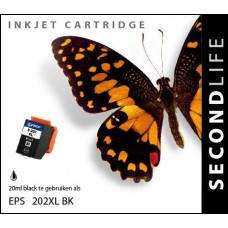 SecondLife compatible inktcartridge Epson 202XL zwart