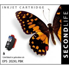 SecondLife compatible inktcartridge Epson 202XL foto-zwart
