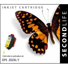 SecondLife compatible inktcartridge Epson 202XL geel
