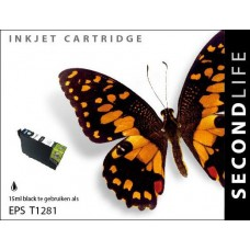 SecondLife compatible inktcartridge Epson T1281 zwart