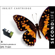 SecondLife compatible inktcartridge Epson T1301 zwart