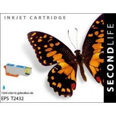 SecondLife compatible inktcartridge Epson 24XL T2432 cyaan
