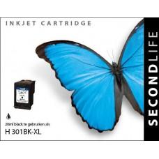SecondLife compatible inktcartridge HP nr.301XL zwart (CH563E)