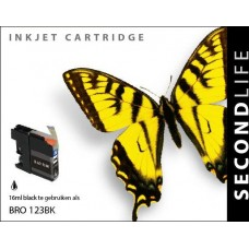 SecondLife compatible inktcartridge Brother LC-123BK zwart