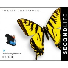 SecondLife compatible inktcartridge Brother LC-123C cyaan