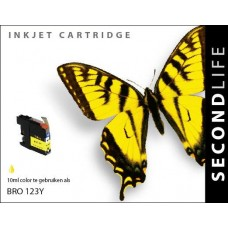 SecondLife compatible inktcartridge Brother LC-123Y geel