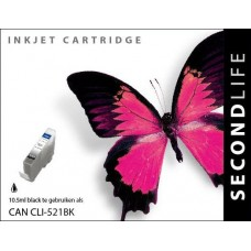 SecondLife compatible inktcartridge Canon CLi-521BK zwart