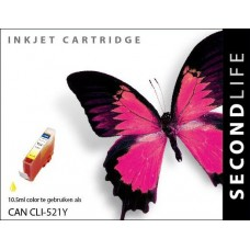 SecondLife compatible inktcartridge Canon CLi-521Y geel