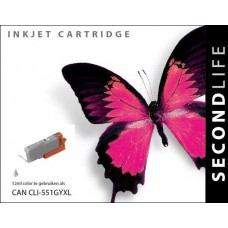 SecondLife compatible inktcartridge  Canon Cli-551XLGY grijs