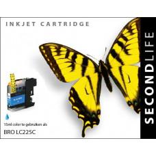 SecondLife compatible inktcartridge Brother LC-225XLC cyaan