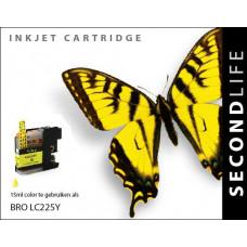 SecondLife compatible inktcartridge Brother LC-225XLY geel