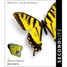 SecondLife compatible inktcartridge Brother LC-985Y geel